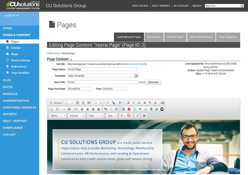 Credit Union Website Content Management System